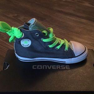 Converse  Girls Grey   Neon Green d11d32654